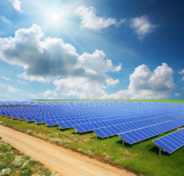Solar panels with green field and country road